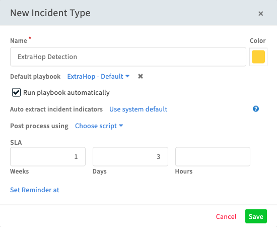 ExtraHop Detection Incident Type