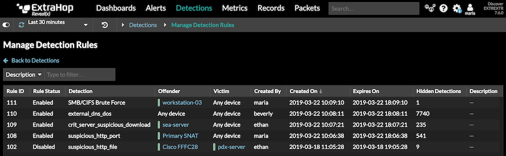 Manage Detection Rules