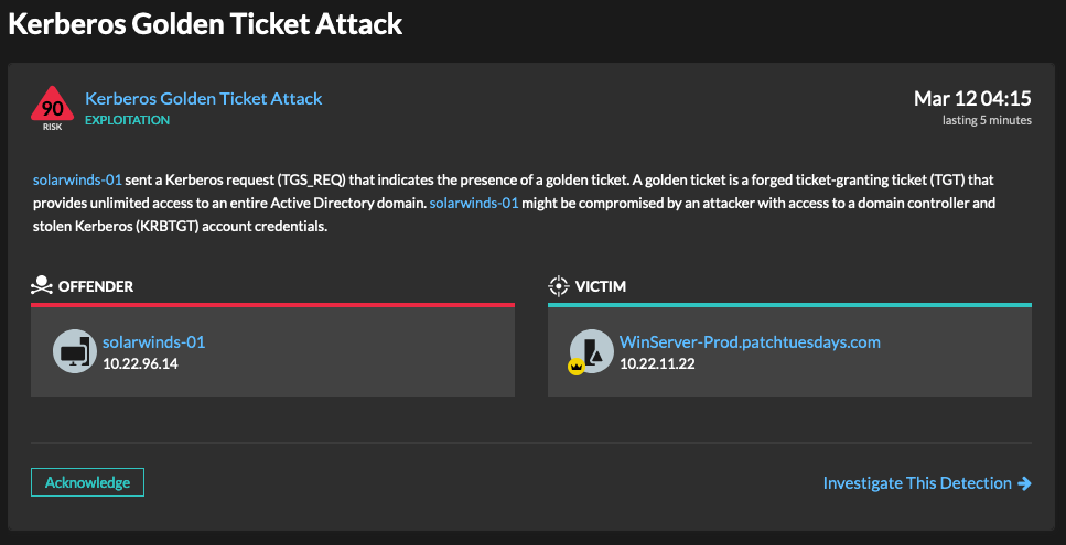 A Kerberos golden ticket attack detection in Reveal(x)
