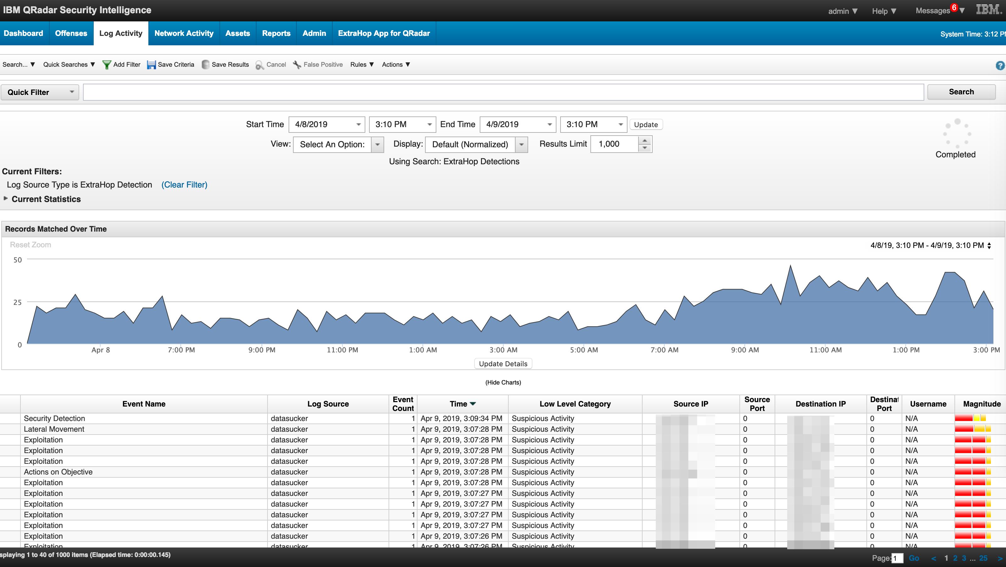 ExtraHop tab in IBM QRadar