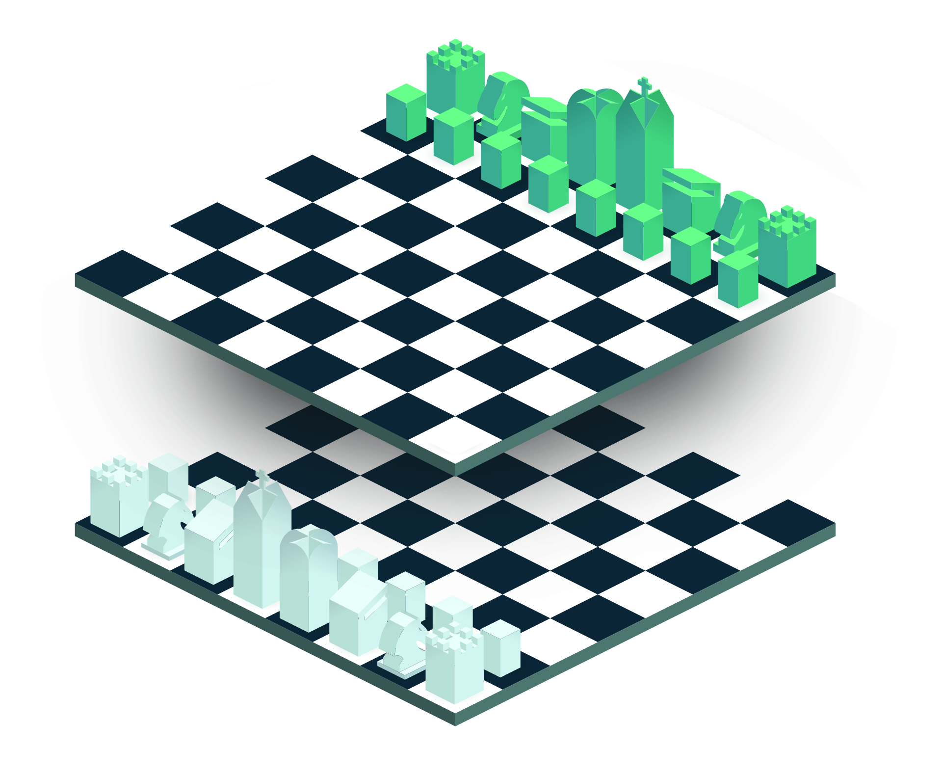 A chessboard with two parallel planes.