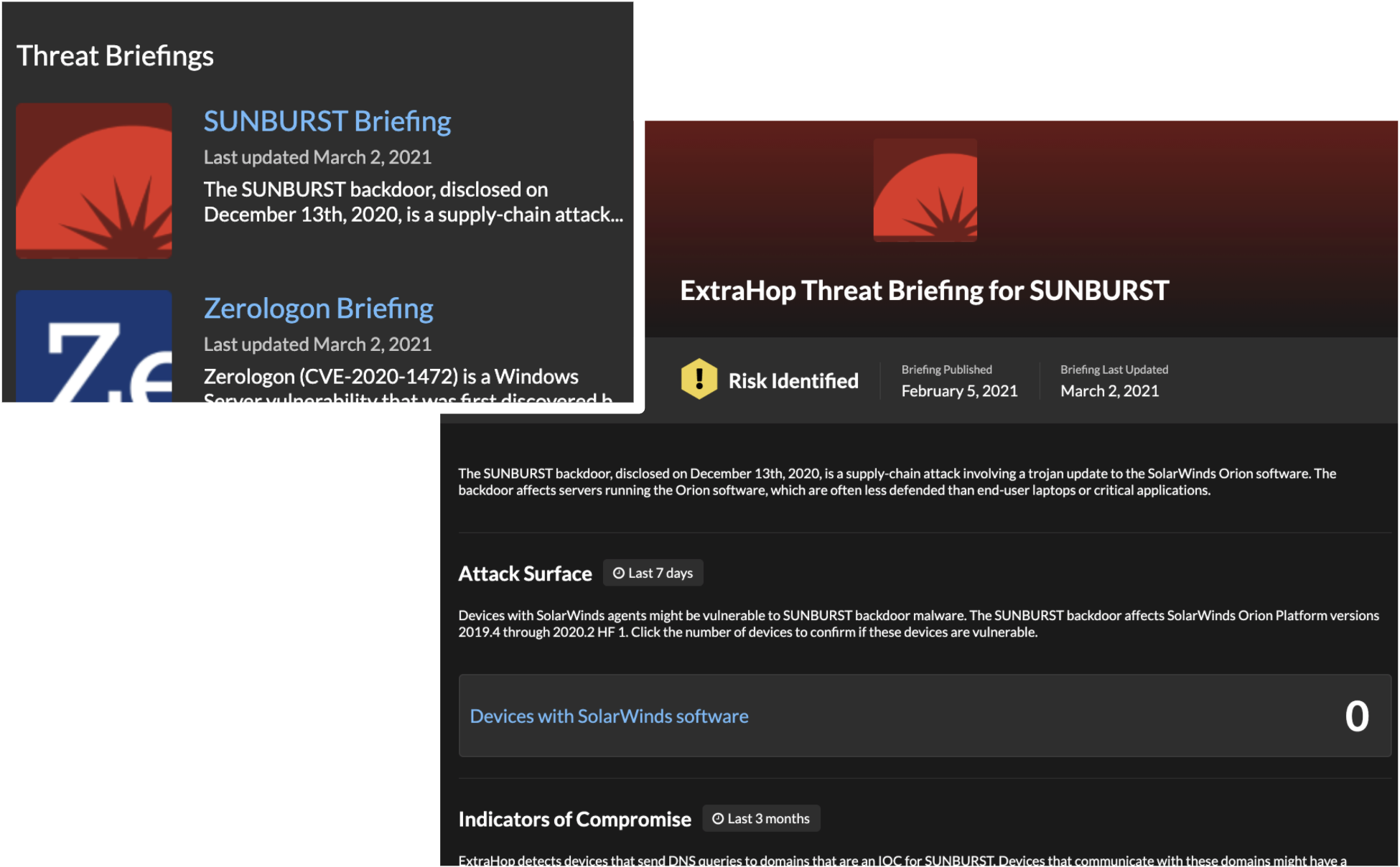 SUNBURST threat briefing