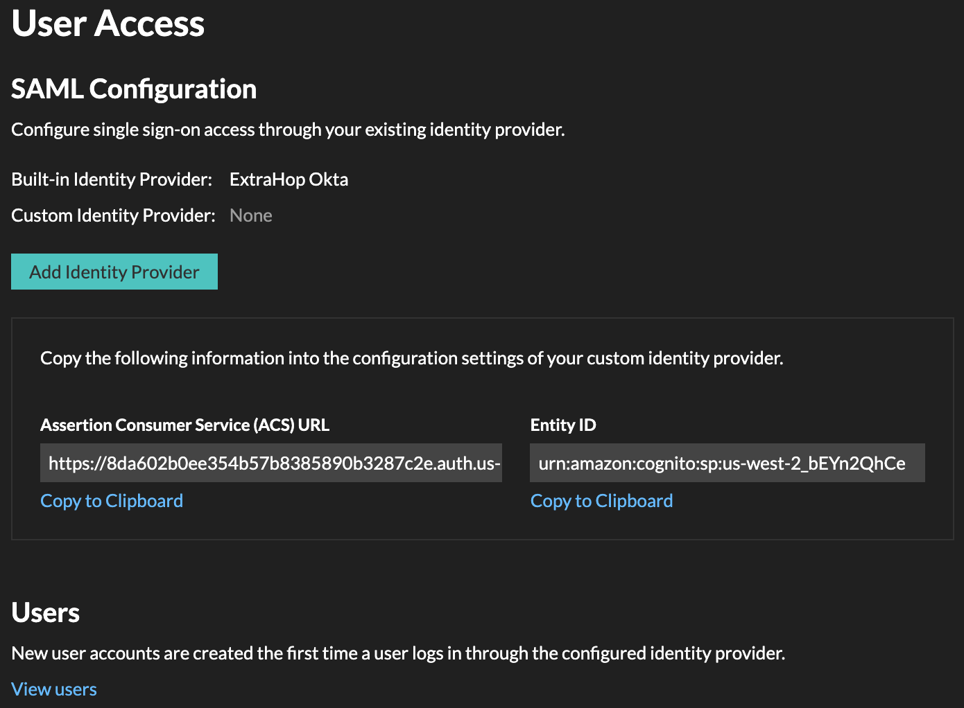 SAML identity configuration