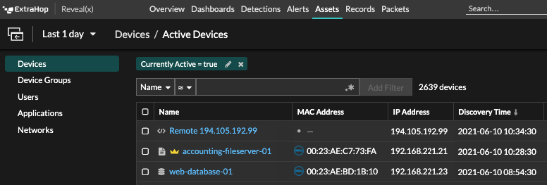 Devices, Currently Active filter in Reveal(x) 8.5