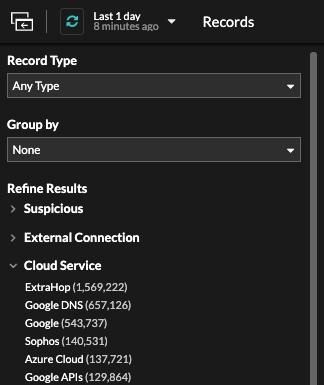 Record filtering criteria in Reveal(x) 8.5