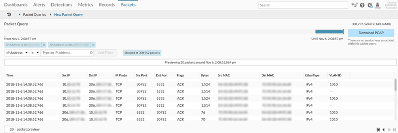 Packet query in ExtraHop Trace