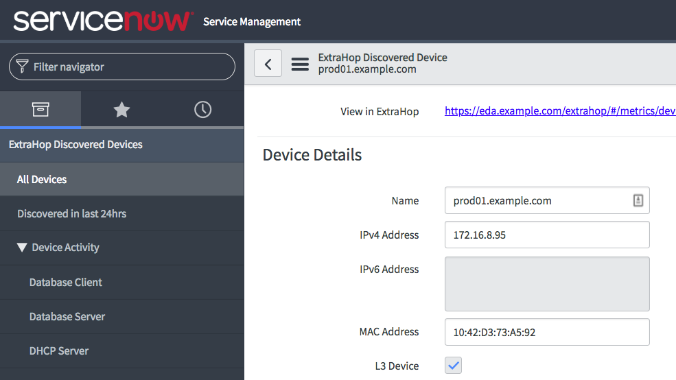 Discovered Device Details in ServiceNow