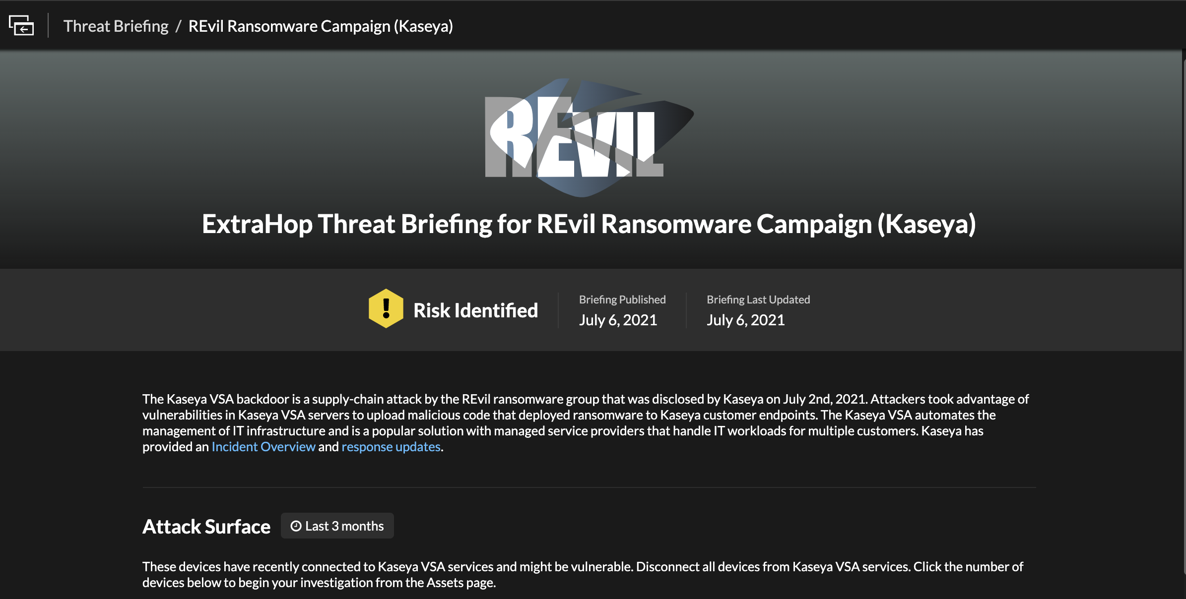 Kaseya Threat Briefing in ExtraHop Reveal(x)