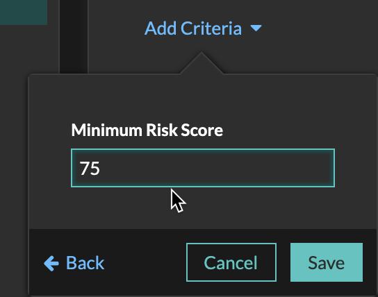 Setting the minimum risk score to 75