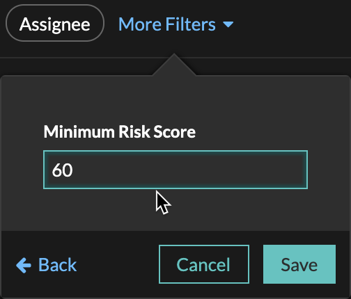 Filtering risk scores by 60 minimum