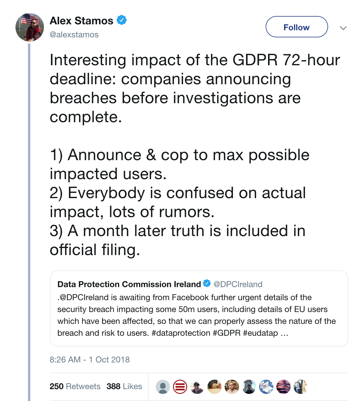 Alex Stamos comments on GDPR impact