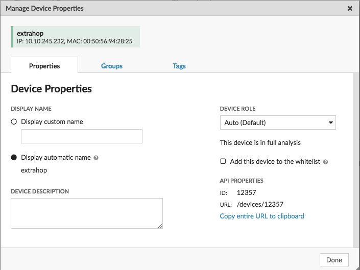 Device properties screenshot with API properties information