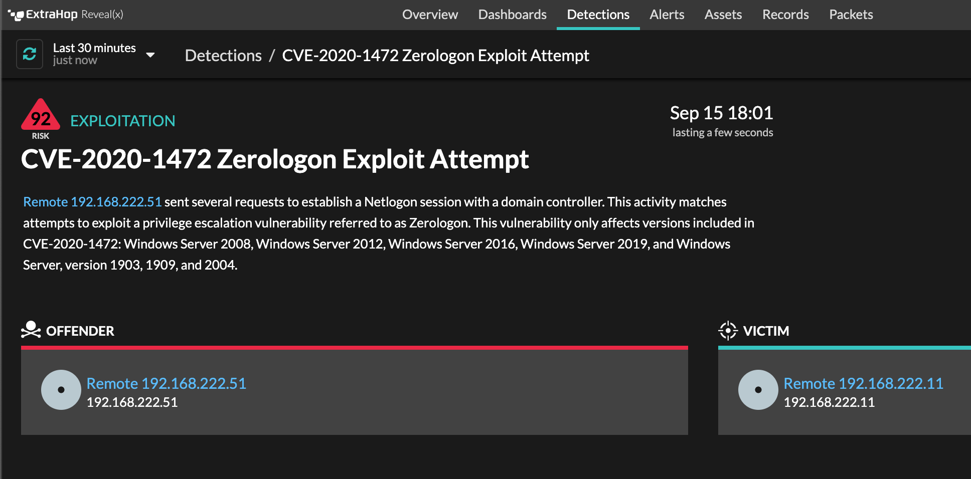 ExtraHop Reveal(x) detection for zerologon vulnerability