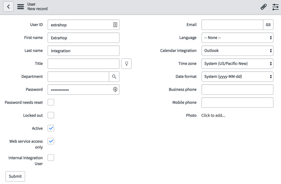 ServiceNow User Settings