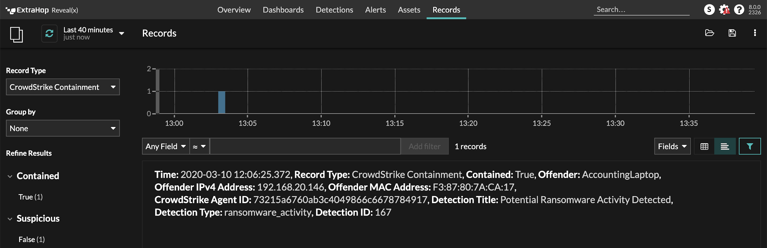 ExtraHop record entry for a successful CrowdStrike Network Containment event