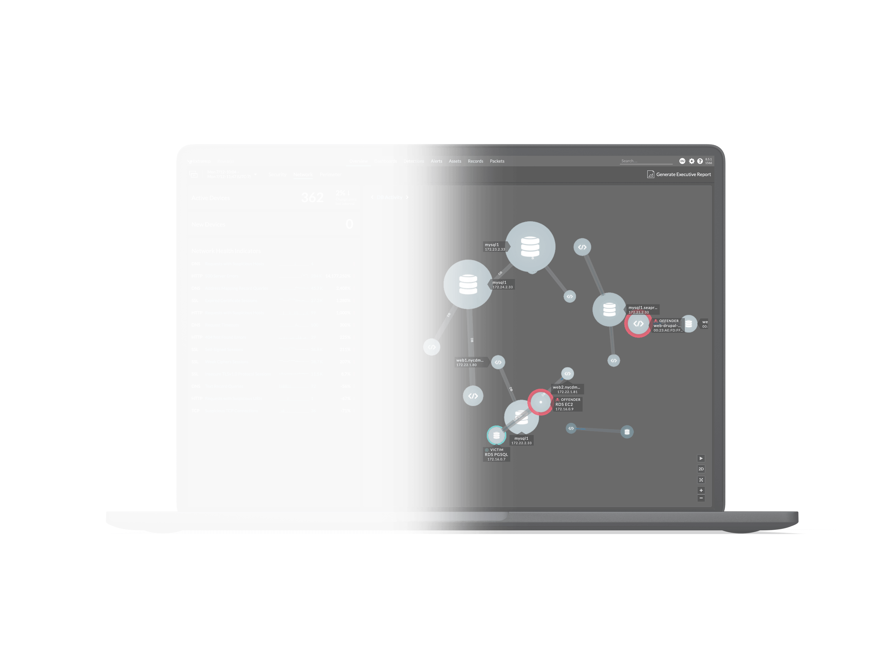 ExtraHop Reveal(x) Product UI