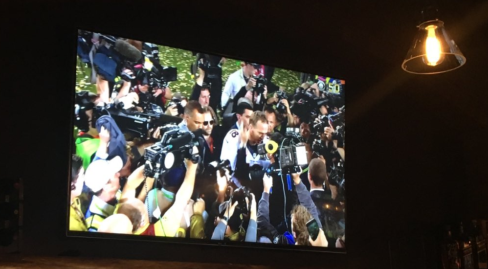 Peyton Manning Gets A lot of Cameras pointed at him