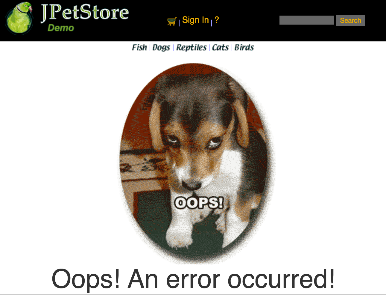 sad error puppy is sad