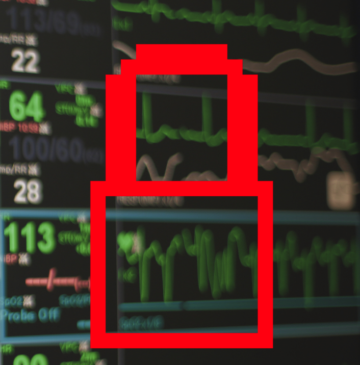 Graphic of a red, pixelated lock overlaid on an EKG machine display.