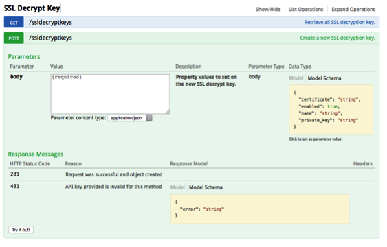 The REST API Explorer enables you to view, customize, and test example API operations