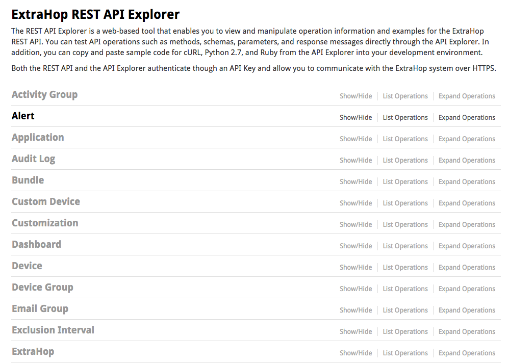 ExtraHop REST API explorer