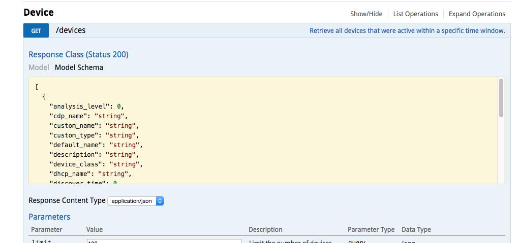 ExtraHop REST API explorer devices view