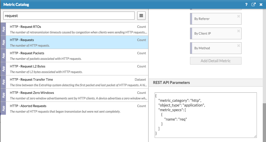 ExtraHop REST API Parameters