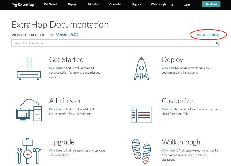 ExtraHop's new docs sitemap