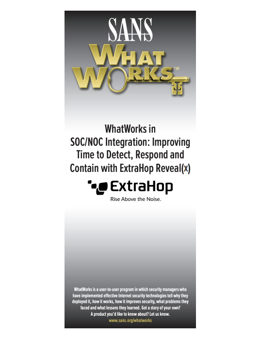 SANS WhatWorks Reveal(x) Case Study cover