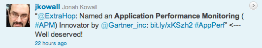 Gartner's Jonah Kowall tweets at ExtraHop regarding the APM Innovators report