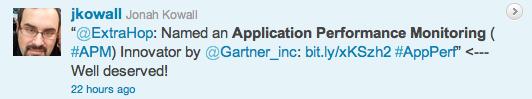 Gartner's Jonah Kowall tweets at ExtraHop regarding the APM Innovators report