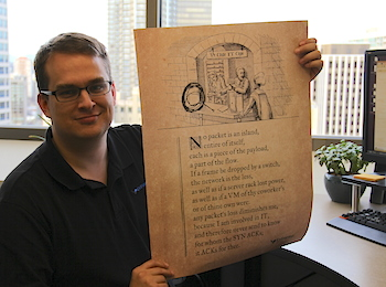 Ben authored the For Whom the SYN ACKs poem, which is available to as a poster.